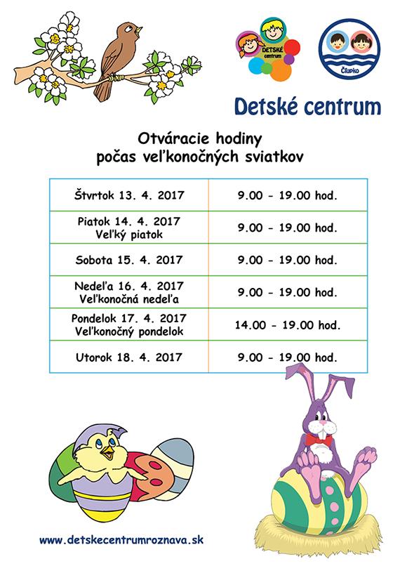 Detské centrum Rožňava, otváracie hodiny počas veľkonočných sviatkov