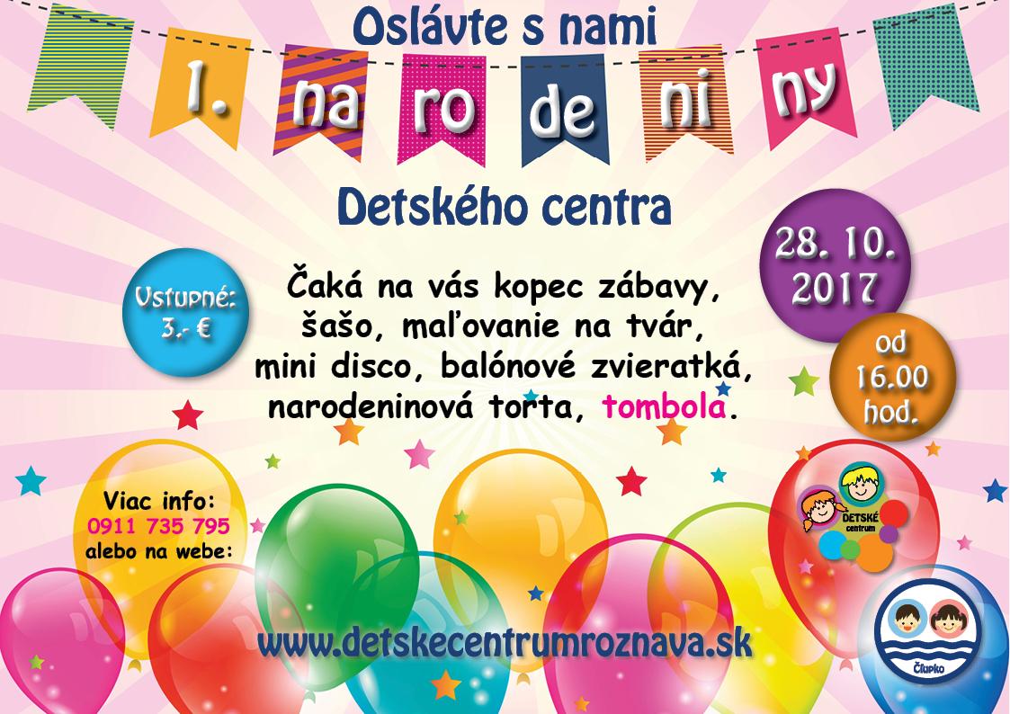 Detské centrum Rožňava, pozvánka na oslavu 1. narodenín