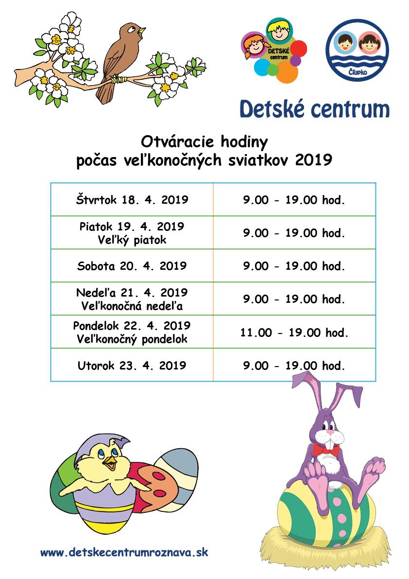 Otváracie hodiny Detského centra v Rožňave počas veľkonočných sviatkov 2019