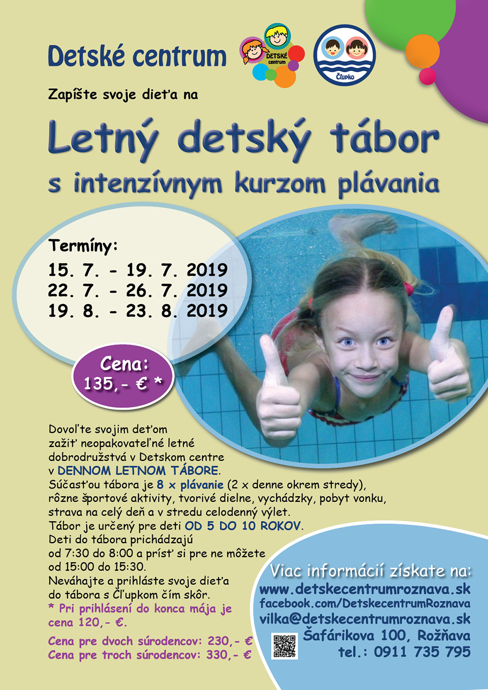 Letný detský tábor v Detskom centre Rožňava