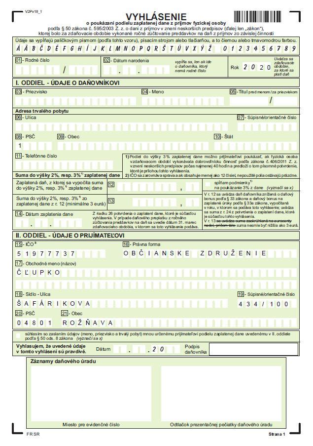 Vyhlásenie pre darovanie 2 % dane pre o.z. Čľupko