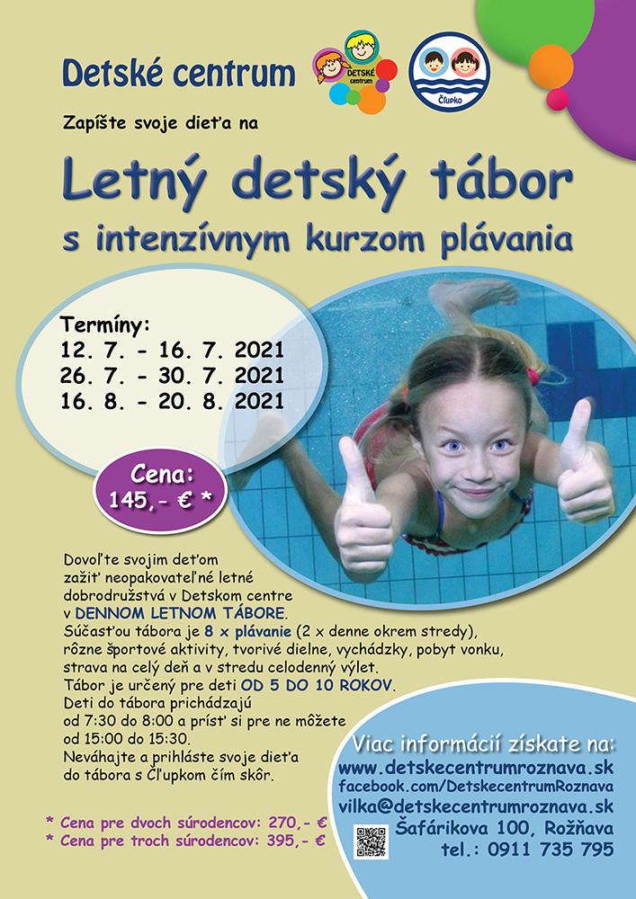 Letný tábor s intenzívnym kurzom plávania, Detské centrum Rožňava, 2021